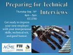 Preparing for Technical Interviews
