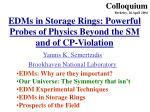 EDMs in Storage Rings: Powerful Probes of Physics Beyond the SM and of CP-Violation