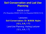 Soil Conservation and Lad Use Planning