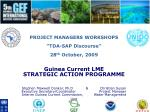 """PROJECT MANAGERS WORKSHOPS """"TDA-SAP Discourse"""" 28 th October, 2009 Guinea Current LME"""