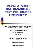 """USING A FIRST – DAY DIAGNOSTIC TEST FOR COURSE ASSESSMENT"""