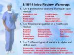 1/10/14 Intro Review Warm-up: