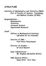 STRUCTURE Institute of Mathematics and Statistics (IMS):  	Part of Faculty of Science, Technology