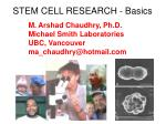STEM CELL RESEARCH - Basics