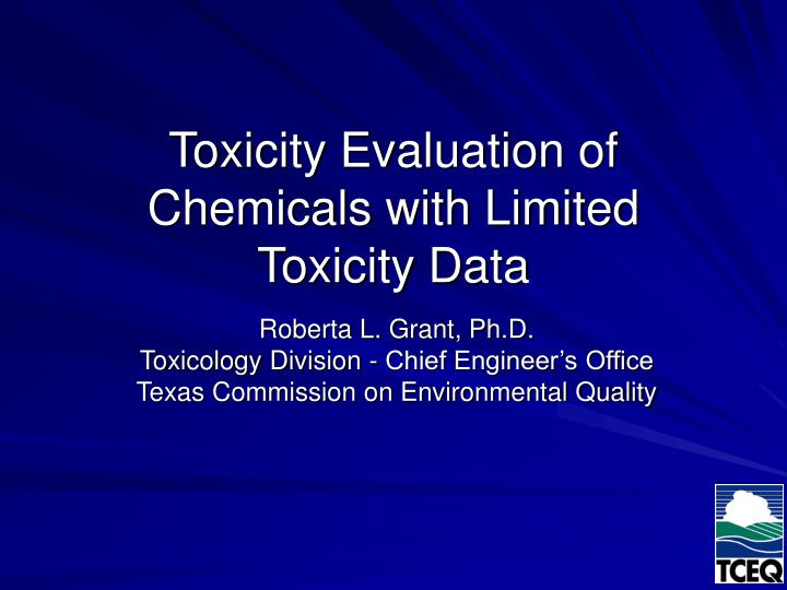 toxicity evaluation of chemicals with limited toxicity data n.