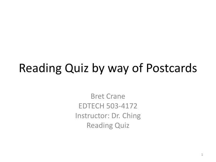 reading quiz by way of postcards n.