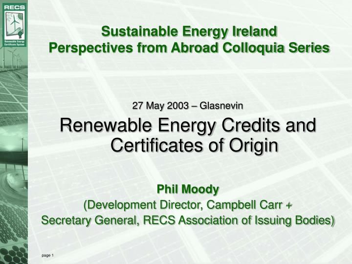 sustainable energy ireland perspectives from abroad colloquia series n.