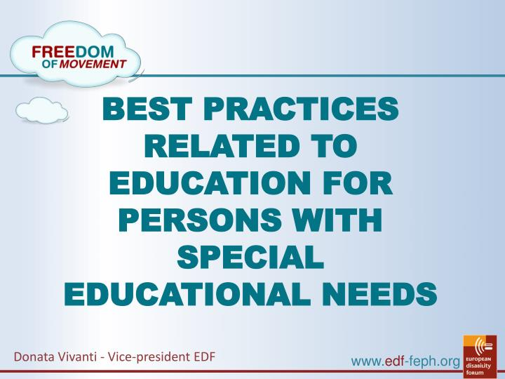 Special Education Best Practices And >> Ppt Best Practices Related To Education For Persons With Special