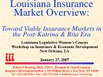 Louisiana Legislative Women's Caucus Workshop on Insurance & Economic Development New Orleans, LA