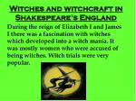 Witches and witchcraft in Shakespeare's England