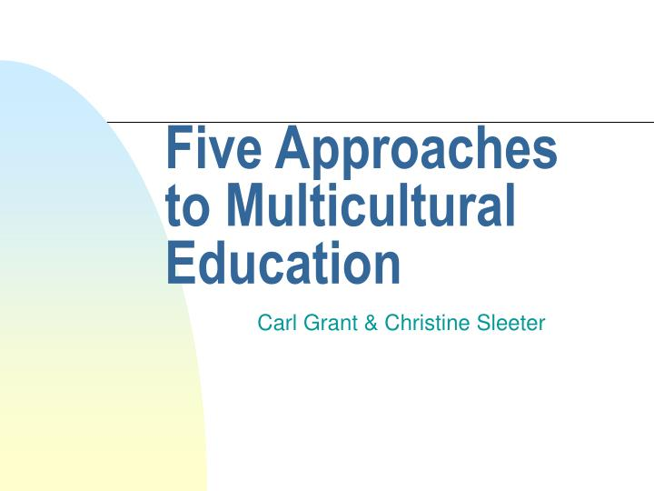 five approaches to multicultural education n.