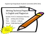 Writing Technical Papers in English and Plagiarism