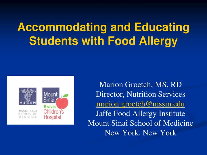accommodating and educating students with food allergy n.
