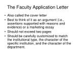 The Faculty Application Letter