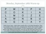 Monday, September 28th Warm-up