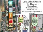 LIFE AFTER DEATH Six Theories