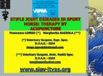 STIFLE JOINT DISEASES IN SPORT HORSE: THERAPY BY ACUPUNCTURE