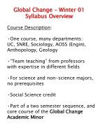 Global Change - Winter 01  Syllabus Overview