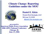 Climate Change: Reporting Guidelines under the MOU