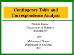 Contingency Table and   Correspondence Analysis