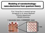 Modeling of nanotechnology: nano-electronics from quantum theory