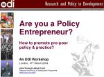 Are you a Policy Entrepreneur? How to promote pro-poor policy & practice?