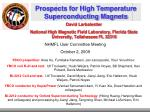 Prospects for High Temperature Superconducting Magnets