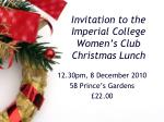 Invitation to the Imperial College Women's Club Christmas Lunch