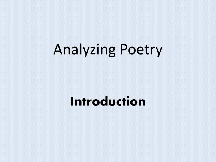 analyzing poetry introduction n.
