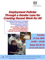 Employment Policies  Through a Gender Lens for  Creating Decent Work for All
