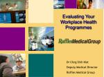 Evaluating Your Workplace Health Programmes