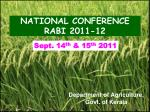 NATIONAL CONFERENCE  RABI 2011-12