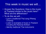 This week in music we will…