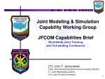 Joint Modeling & Simulation Capability Working Group