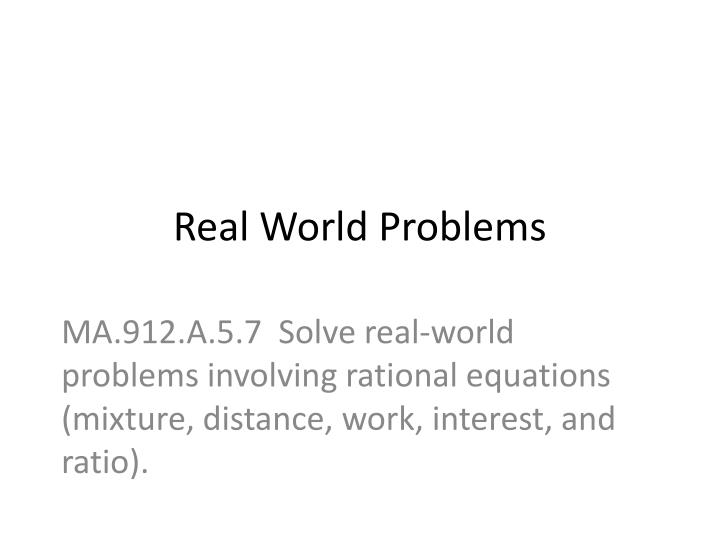 real world problems n.