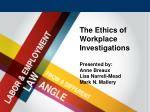 The Ethics of Workplace Investigations Presented by: Anne Breaux Lisa Narrell-Mead Mark N. Mallery