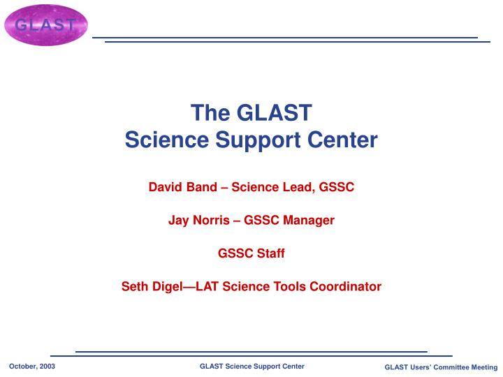 the glast science support center n.