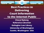 Best Practices in Delivering Court Information to the Internet Public