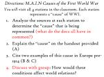 Directions: M.A.I.N Causes of the First World War