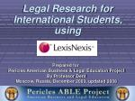Legal Research for International Students, using