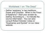 "Worksheet 1 on ""The Dead"""