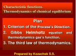 Characteristic functions . Thermodynamics of chemical equilibrium