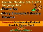 Agenda- Monday, Oct. 3, 2011 Language Arts
