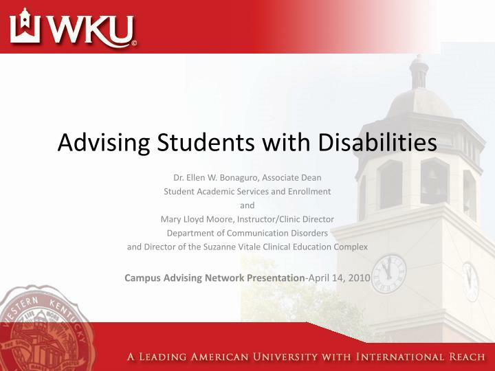 advising students with disabilities n.