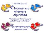A Journey into Alternate Algorithms