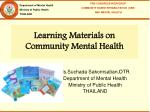 Learning Materials on Community Mental Health