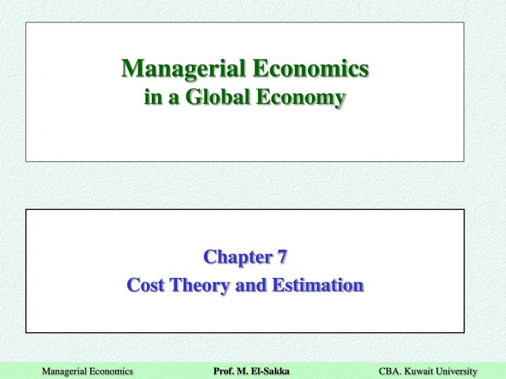 managerial economics in a global economy n.