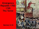 Emergency Republic 1792-1795 The Terror