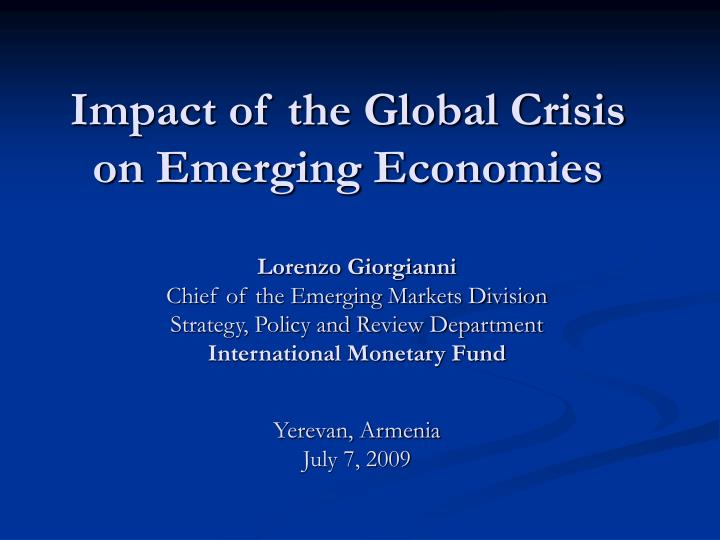 impact of the global crisis on emerging economies n.