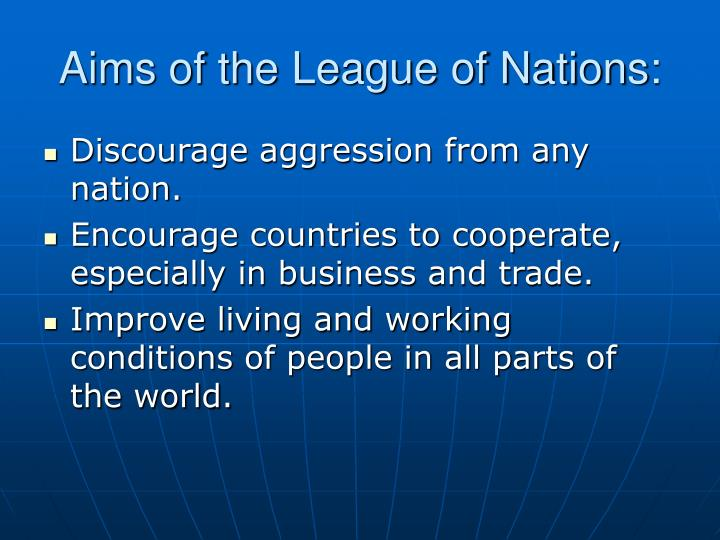 aims of the league of nations n.